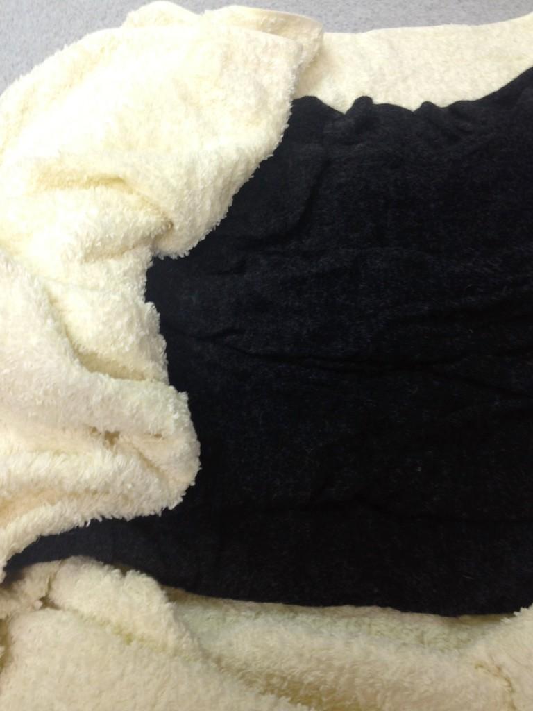 写真:バスタオルに包んで水気を取っているところ