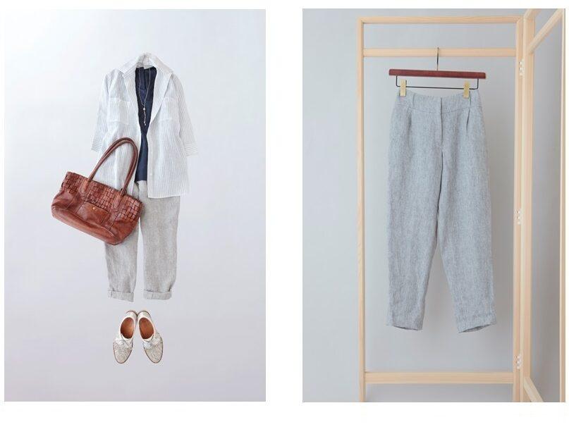 写真:九分丈パンツのコーディネートと単品写真
