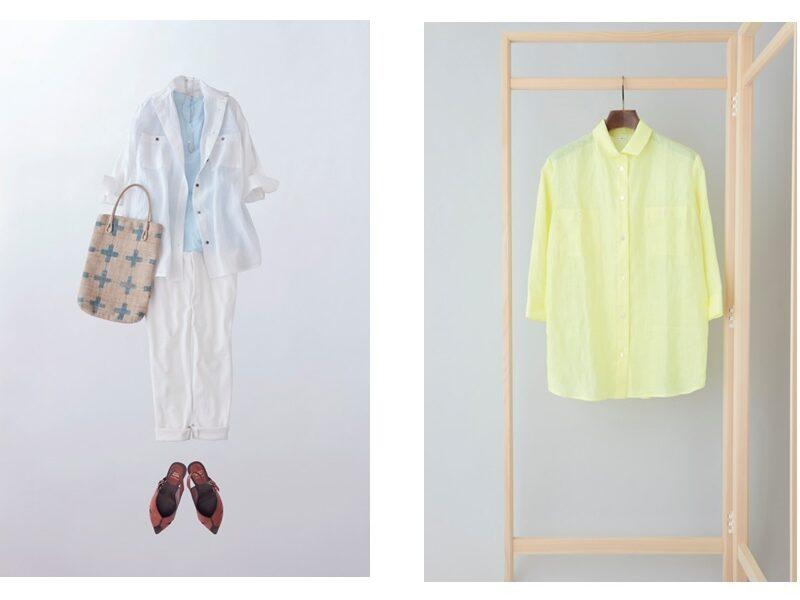 写真:白いシャツのコーディネートと、イエローのシャツの単品写真